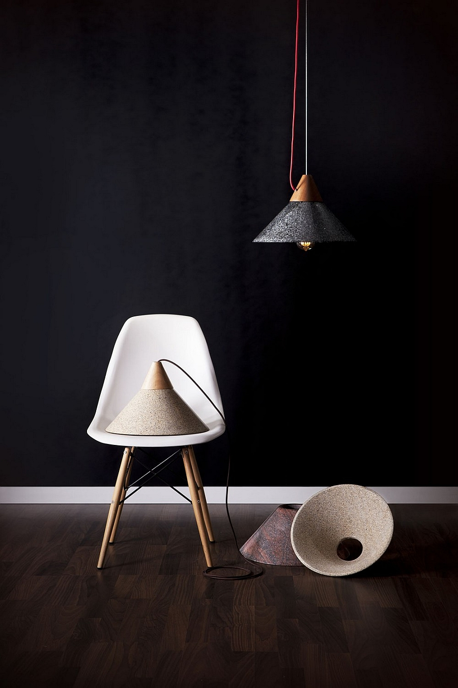 Ingenious Modern Pendant Lights In Granite And Wood