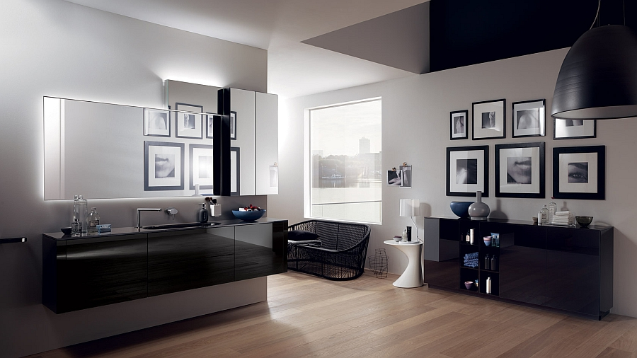 Gorgeous Font Bathroom from Scavolini with glossy glass surfaces Refreshing And Posh Contemporary Bathroom Dazzles With Colorful Charm