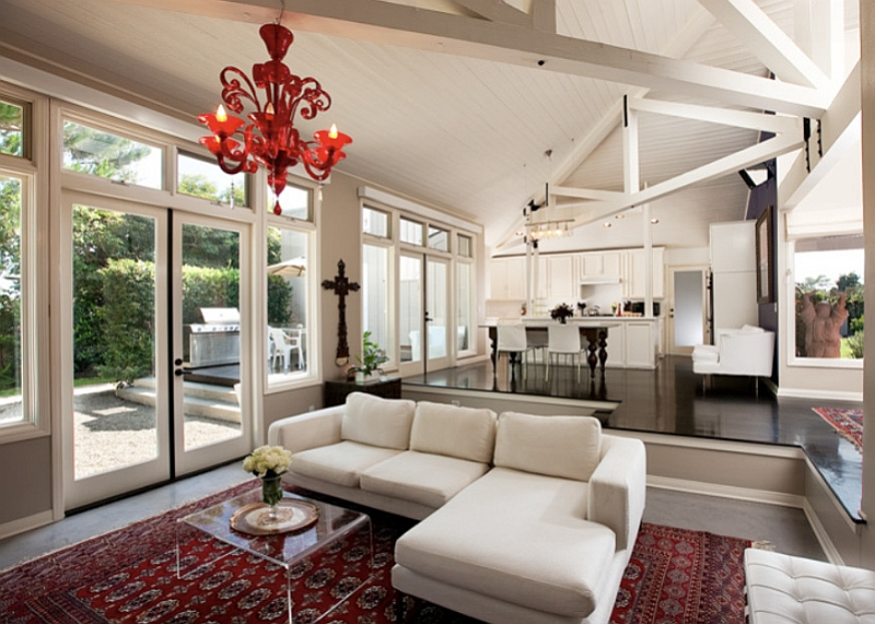gorgeous murano red glass chandelier enlivens the bright and airy