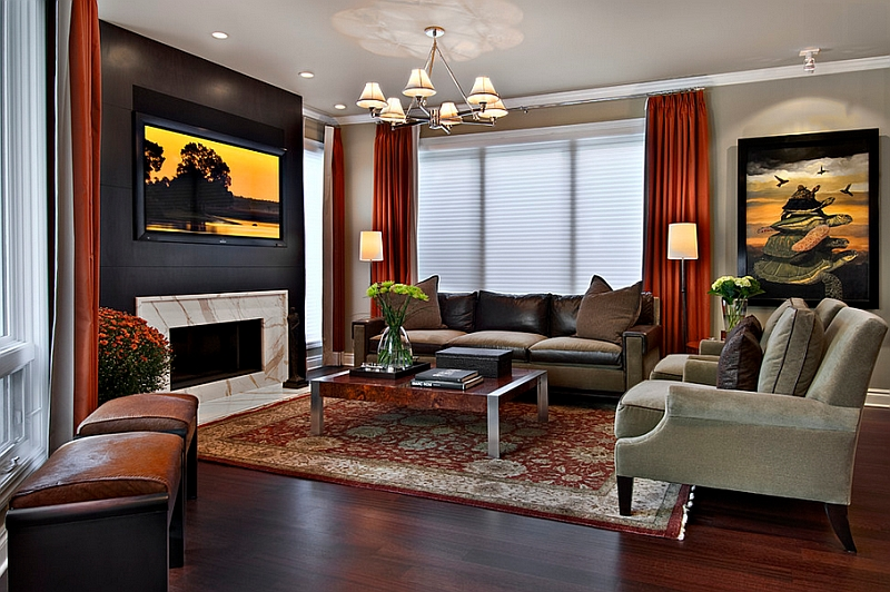 Gorgeous Black Accent Wall In The Living Room