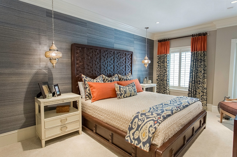 Gorgeous blend of Moroccan elements with sleek, contemporary bedroom design