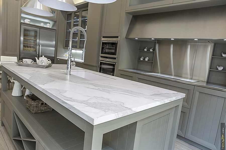 Resilient porcelain slabs for kitchen countertops islands for Kitchen ideas with porcelain countertops