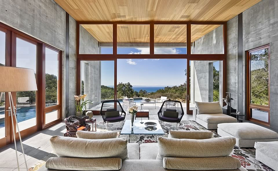 Gorgeous living room with stunning canyon views, lightweight concrete floor and natural mahogany ceiling