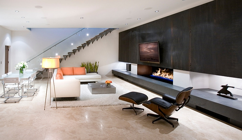 Gorgeous low ceiling living room with the iconic Eames Lounger