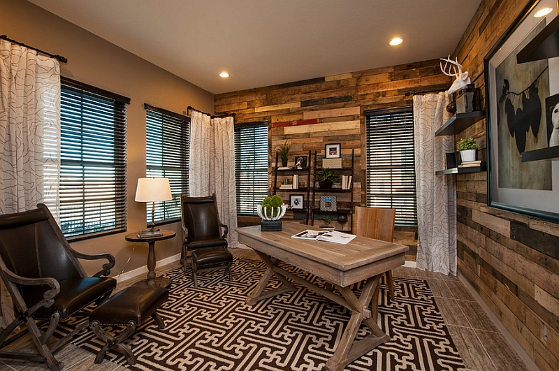 Gorgeous repurposed wood wall in the modern home office makes for a sustainable addition