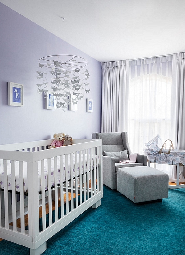 Gorgeous use of purple in the modern nursery