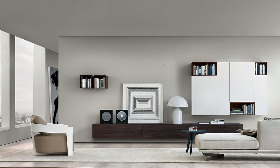 Genial View In Gallery Gorgeous Wooden Wall Mounted Living Room Units Decorated  Using Black And White Accessories