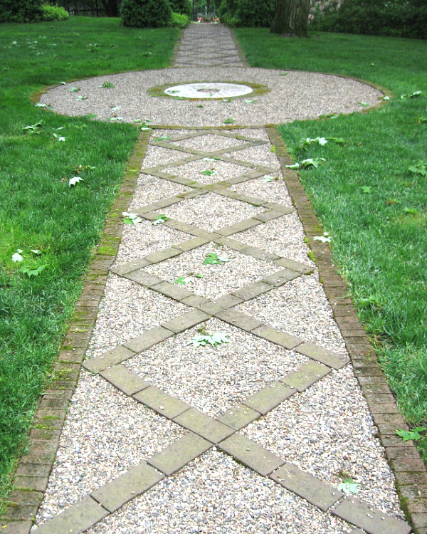 Gravel path with a brick border