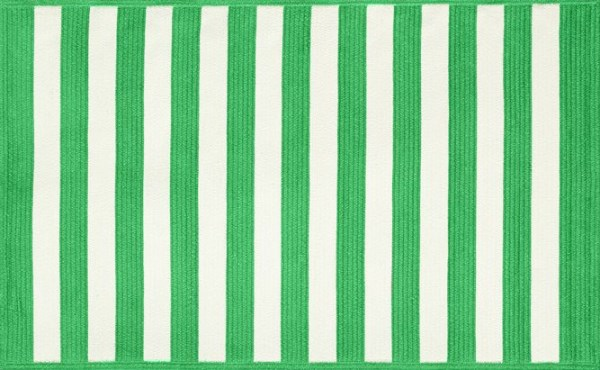 Green and white striped rug