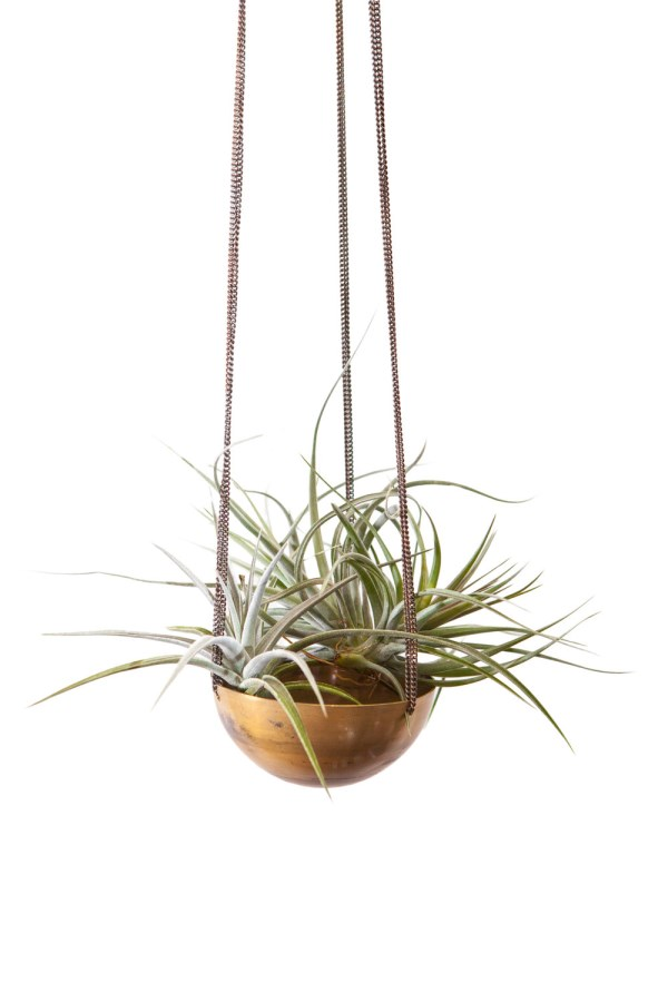 Hanging metal air plant bowl planter from Etsy shop INSEKDESIGN