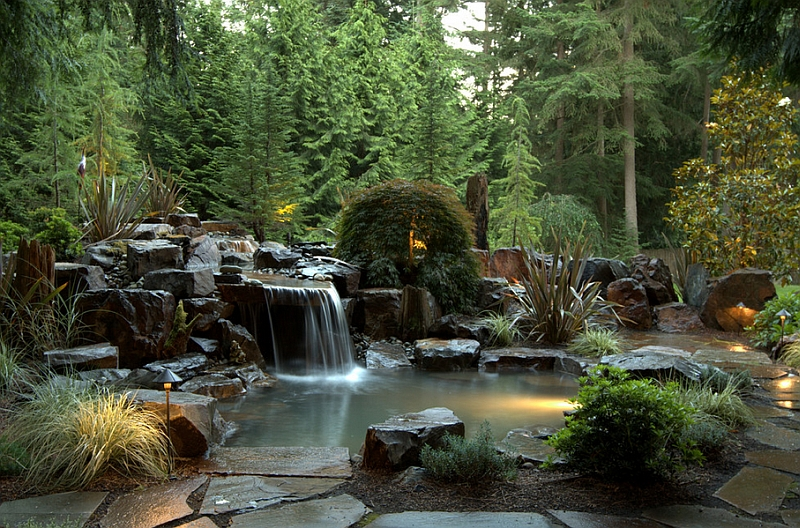 view in gallery heavy basalt rocks dreamy waterfall and japanese maple help shape the stunning pool retreat by alderwood landscaping - Natural Swimming Pool Designs