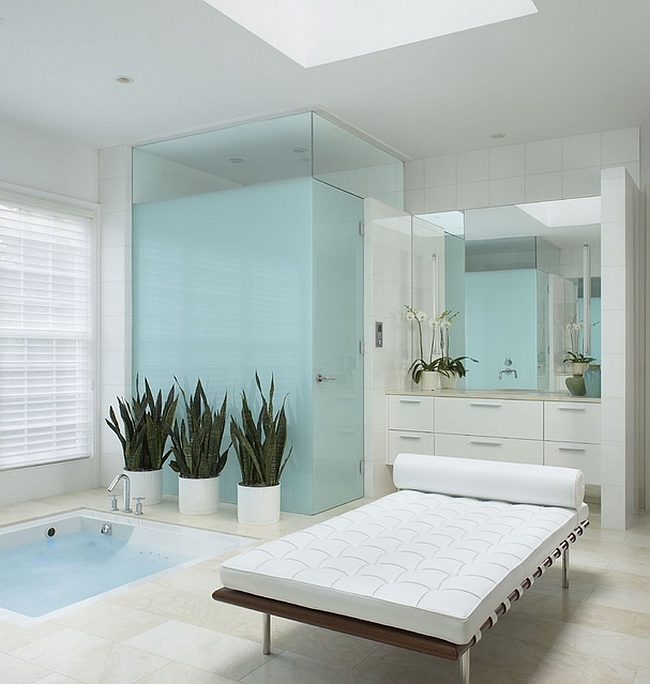 Hint of aqua along with whte bring serenity to the master bath