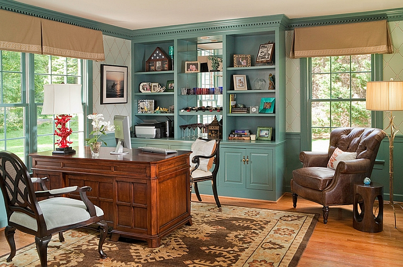 Home Office cabinets painted in cool Caribbean Teal