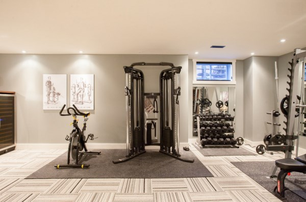 Home gym featuring FLOR carpet squares
