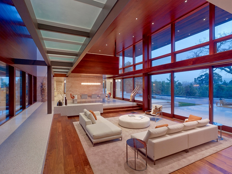 Huge glass doors and windows shape the ambiance inside this San Francisco home