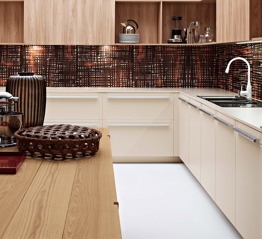 Imaginative backsplash adds to the trendy appeal of the chic Italian kitchen