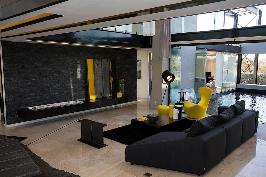 Indoor that is built around stunning water features