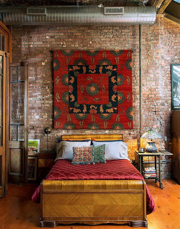 Industrial bedroom with Moroccan accents
