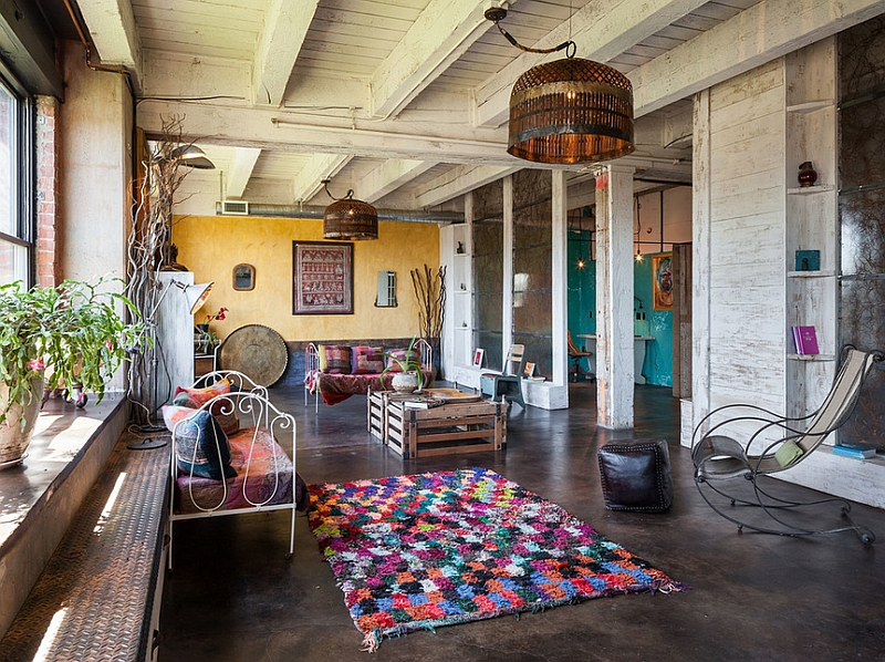 Industrial living room filled with repurposed decor