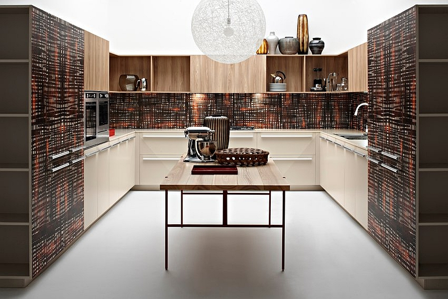 Ingenious finish of the kitchen gives it a playful, yet posh appeal