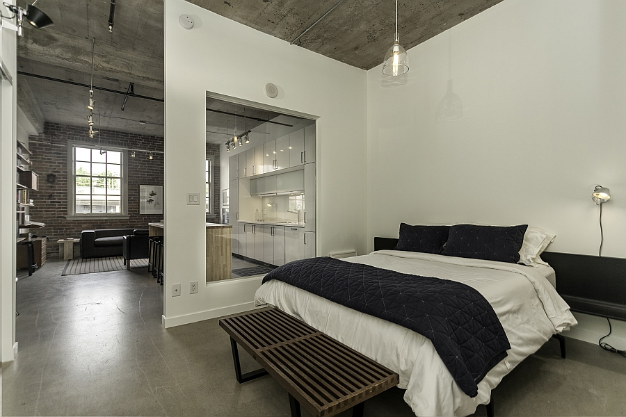Historic loft brings together rich heritage and contemporary comfort Master bedroom with loft area