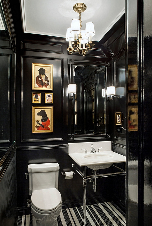 Interesting powder room design in black!