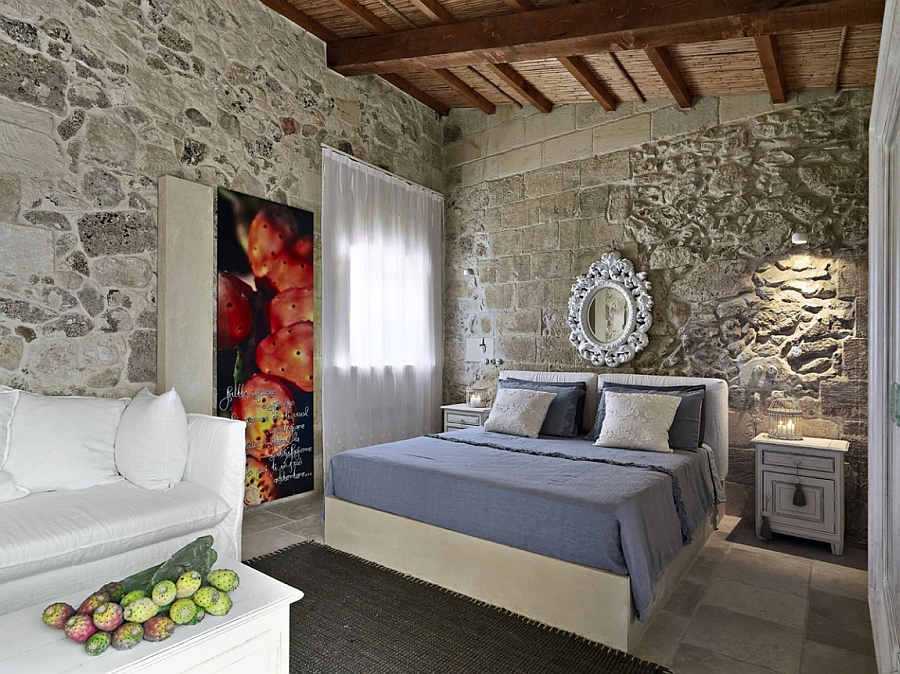 Interesting wall art additions give the room a sense of uniqueness
