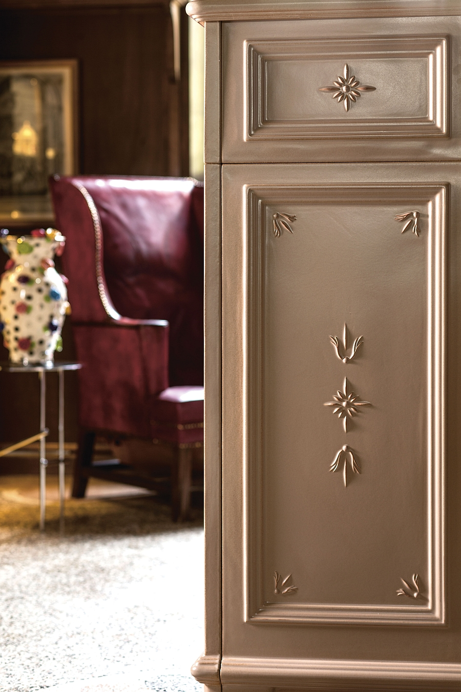 Intricate detail adds to the traditional charm of the wood-burning collection