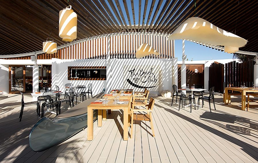 KOS Teak Collection of Outdoor tables and chairs at the Beach Club Ibiza