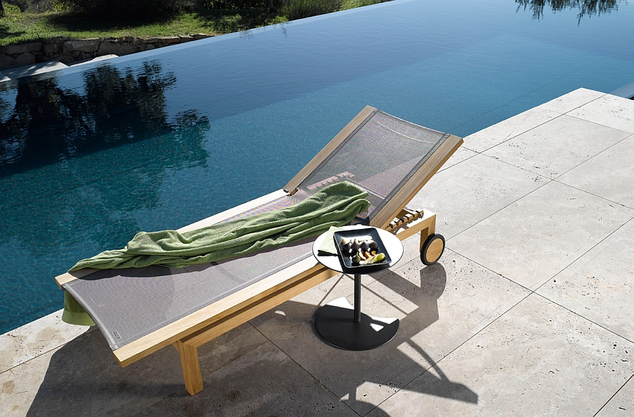 KOS Teak Pure Light Lounger on the pool deck