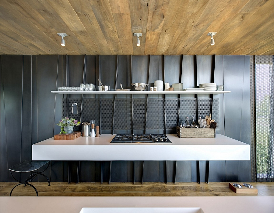 Kitchen countertop and shelves that are integrated with the prefabricated shear wall panels