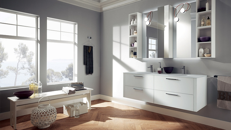 Lacquered wall-hung cabinets with mirrored doors and open-shelf elements for the trendy modern bath