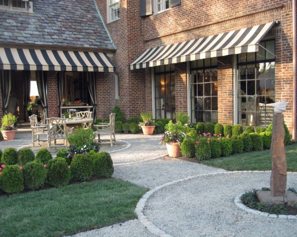 Landscaping with brick pavers and gravel