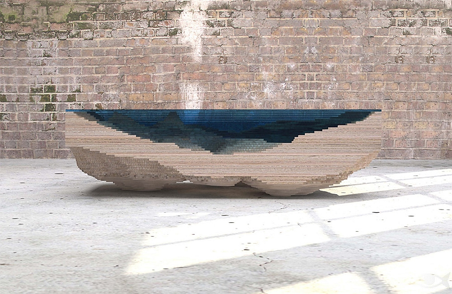 Layered table made from sculpted Perspex and wood to replicate the ocean