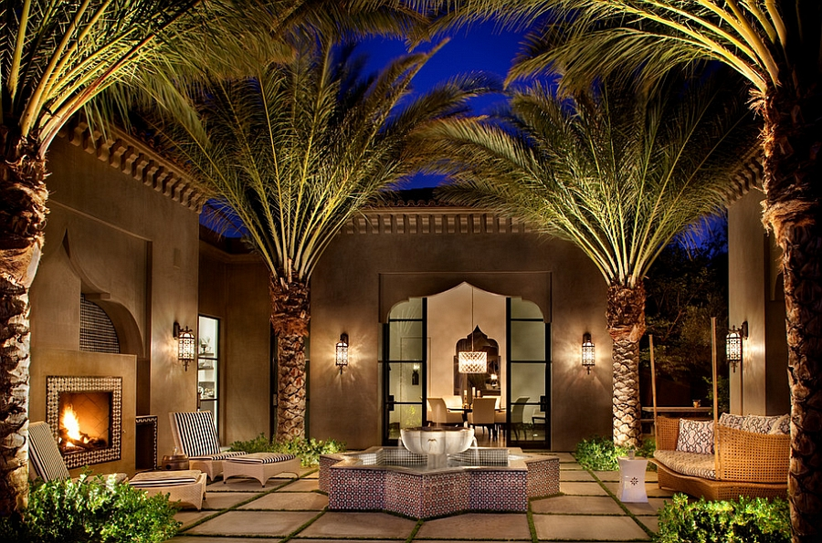Lighting adds the exotic touch to this amazing outdoor landscape