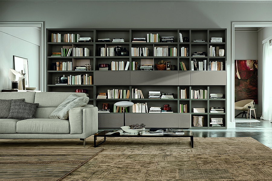 View in gallery Live contemporary wall unit bines open units with closed cabinets