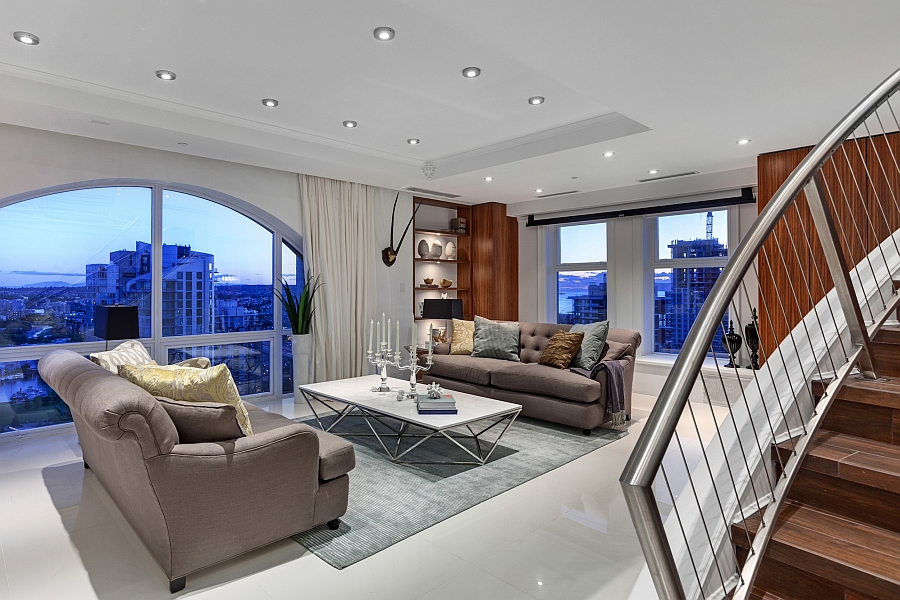 Living room of the exclusive Vancouver penthouse Elysium Lavish Affluence And Amazing Views Shape Posh Vancouver Penthouse