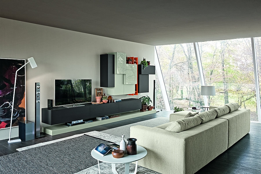 View In Gallery Living Room Wall Unit Composition With Space For The Flat  Screen TV And Colorful Cabinets