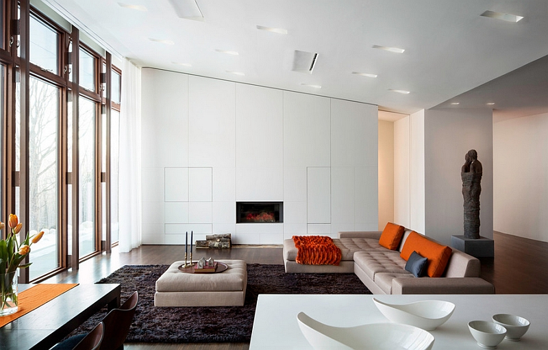 Living space with slanted ceiling that is far less dramatic