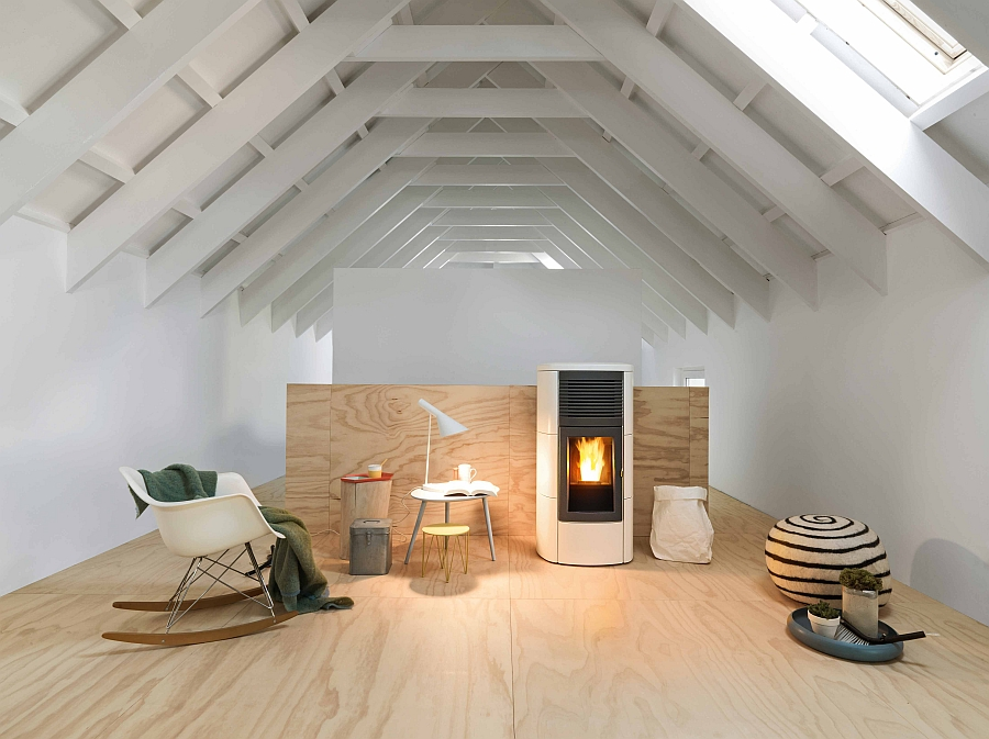view in gallery lovely pellet burning stove with a steel structure and a front panel in ceramic contemporary - Home Heating Design