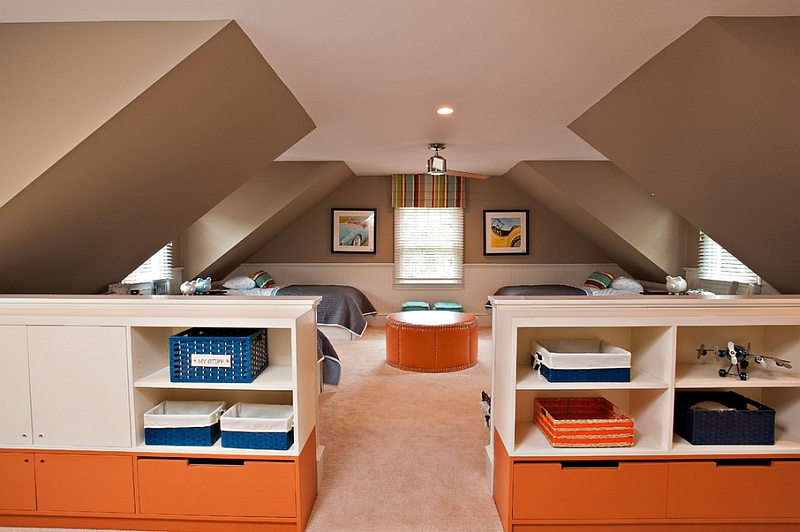 Lovely View In Gallery Lovely Color Scheme In A Kids Bedroom With Sloping Walls