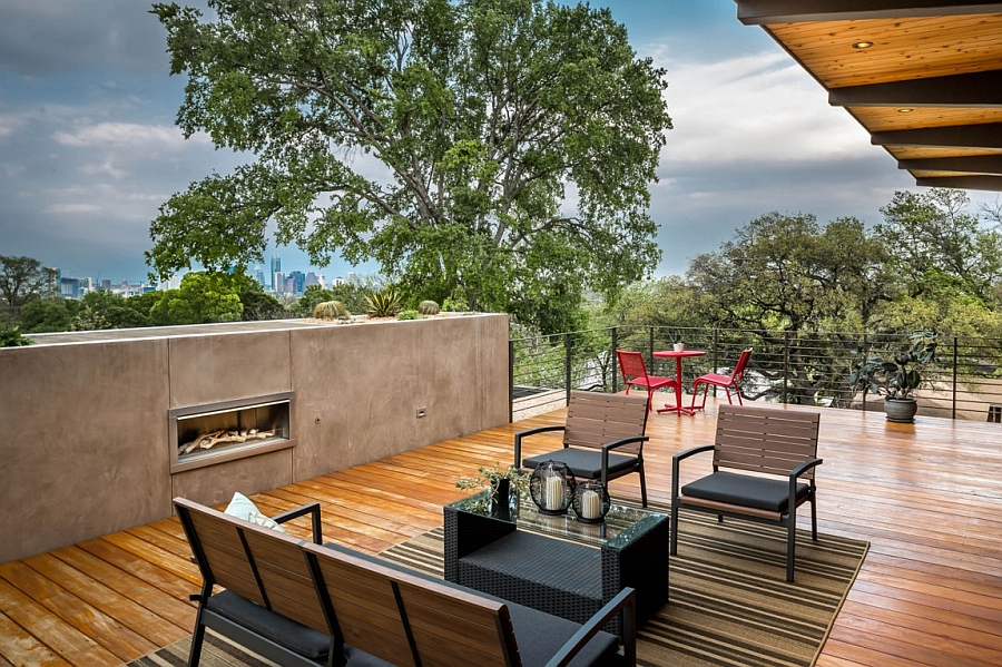 Lovely deck space, outdoor lounge and fireplace encourage outdoor living