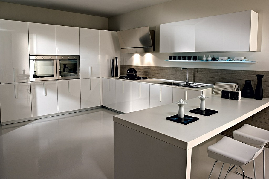 Lovely serving station complements the sleek look of the kitchen