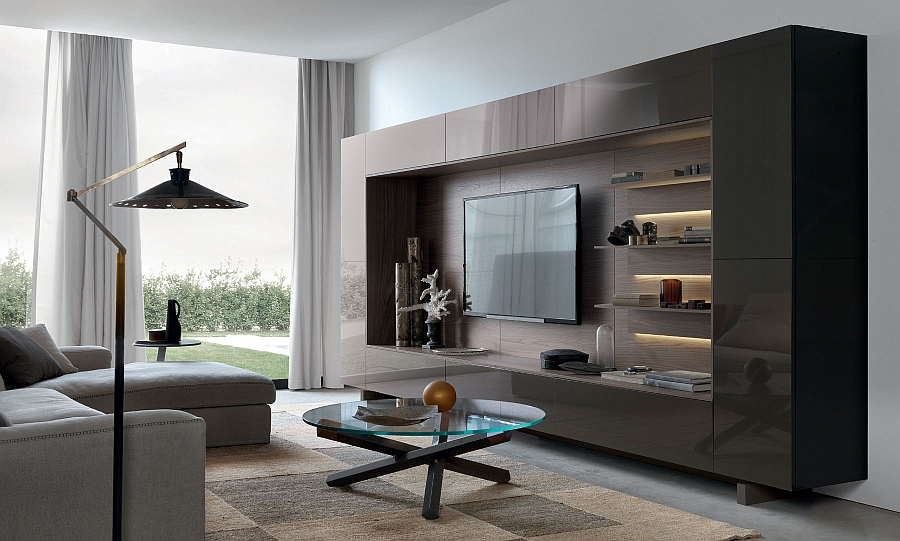 View In Gallery Lovely Underlit Shelves Add Elegance To The Gorgeous Wall Unit System Living Room