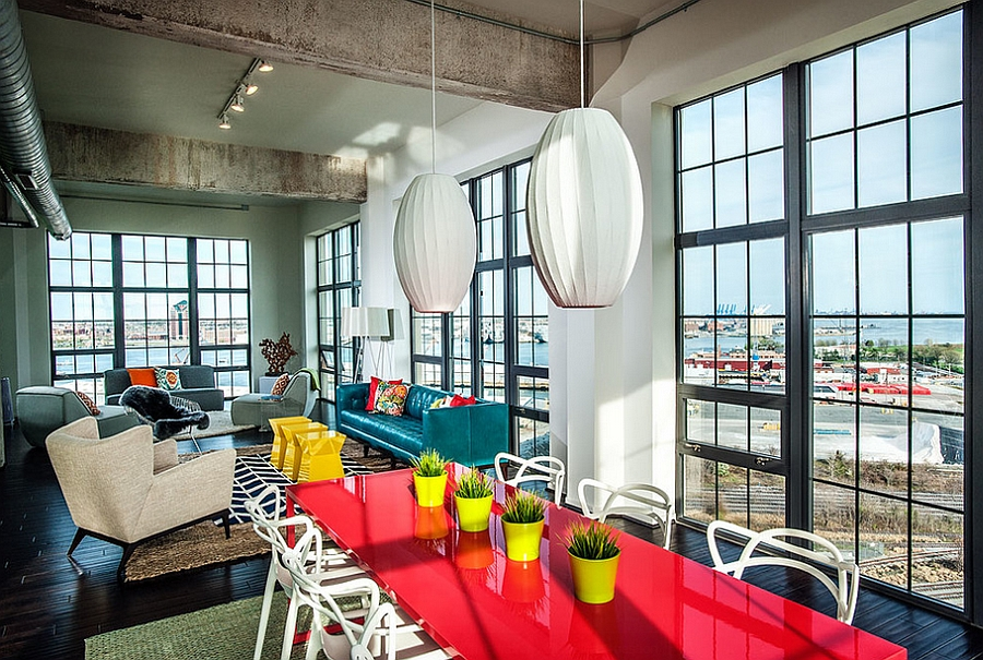 Lovely use of bold color and decor in the industrial dining room
