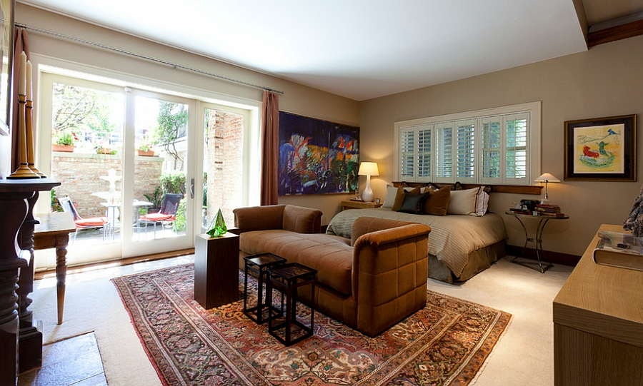 Lovely use of color in a restrained fashion in the master bedroom