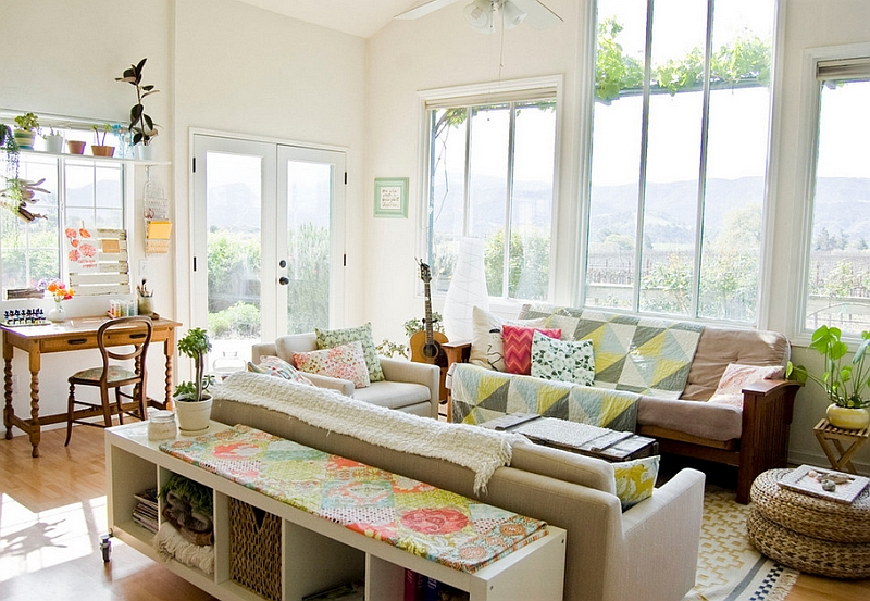 View In Gallery Lovely Use Of Colors And Textures The Living Room With A High Ceiling