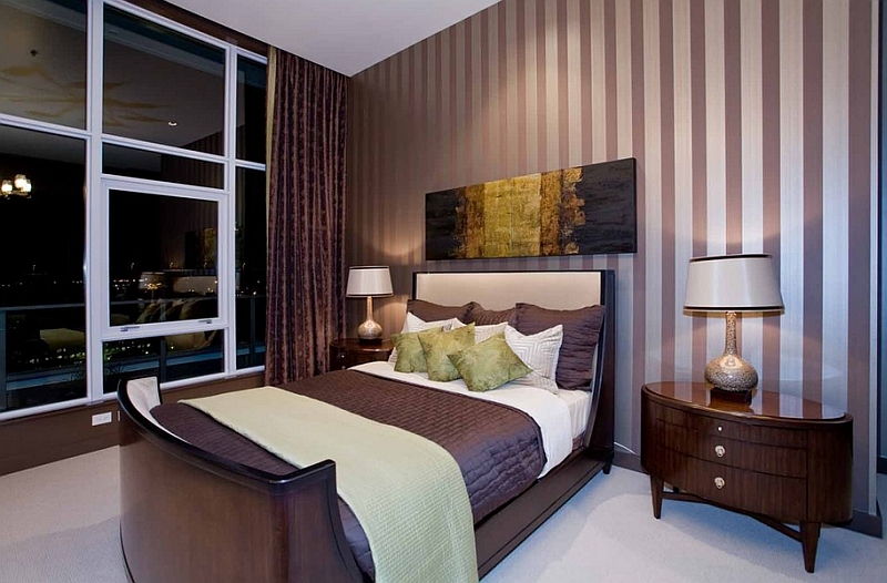 View In Gallery Luxurious Bedroom Brings Together Deep Eggplant And Light  Green In A Subtle Fashion