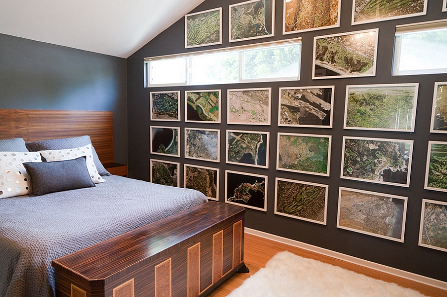 Masculine bedroom for a professional golfer with satellite images of golf courses!