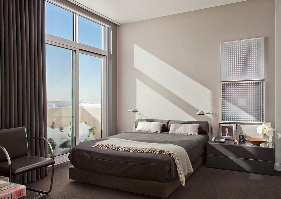 Masculine bedroom has a trendy, urban appeal to it
